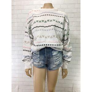 Vintage 90s Jantzen White Geometric Slouch Sweater